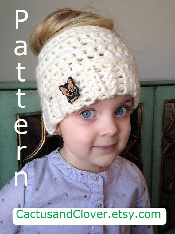 Crochet Pattern Kids Messy Bun Hat Childs Messy Bun BeanIe  513017bd105
