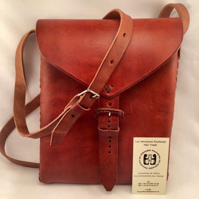 25676dce229 Mexican Leather bag, handmade, sustainable and natural, Chiapas, Mexico,  fair trade