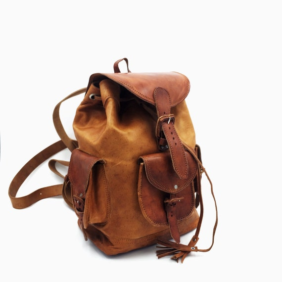 leather bags Mexican leather backpack mexican bag Chiapas travel backpack