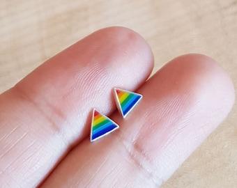 925 Sterling Silver Rainbow Stud Earrings - Gay Pride Earrings, Rainbow Earrings, LGBT Earrings, Lesbian Earrings, Enamel Earrings