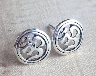7cdb2778a Om stud earrings - 925 sterling silver - ohm Aum post earrings - yoga  jewelry - symbol earrings - namaste jewelry - Meditation Jewelry