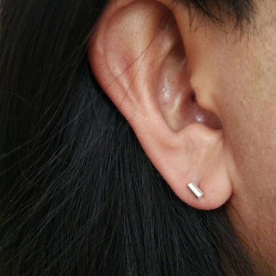 Rounded Bar Stud Earrings 925 Sterling Silver Minimalist Handmade