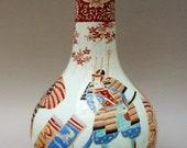 Japanese Edo Meiji porcelain Hichozan Shinpo bottle vase