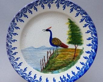 Nove Italy - Antonibon - antique majolica plate with crane