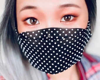 100% Cotton, handmade, 3D, filter pocket, reusable and washable, adult face mask, removable nose bridge wire and adjustable ear loops