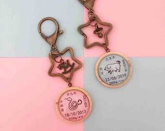 Miss Time l Baby Fullmoon Gift l Customized Gemstone Keychain