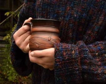 Handmade Cup Ceramic Cup Coffee Cup Organic Eco Ceramic Art Country Style Ceramic Coffee Mug Handmade Pottery Coffee Cup, Brown Black Glaze