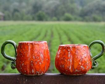 Pumpkin Mug Orange Set Of Two Mugs, Shape Of a Pumpkin, Handmade Pottery Cups, Orange Ceramic Cups, Orange Mug, The Set Costs 106 Dollars!!!