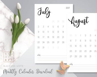 Black and White Monthly Calendar