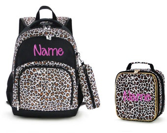 monogrammed with your name Leopard Safari Backpack from All for Color customized