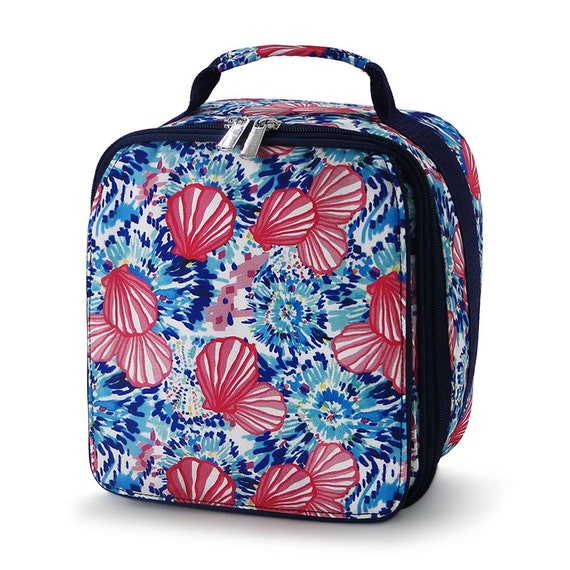 BACKPACK with Pencil Case /& Lunch Box Navy Stripes// Hotpink Flamingo