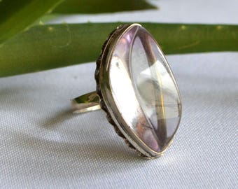 Amethyst rare silver ring size 6, Silver ring with rare amethyst, Ring size 17 mm, Magic lilac stone ring, Amethyst freeform ring,