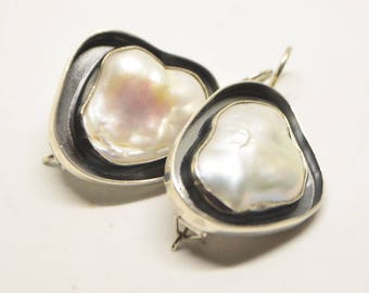 Baroque pearl earrings, Silver earring with Baroque pearls, Baroque pearl set, Baroque pearl ring, natural pearl jewelry set