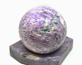 "Charoite sphere, 3.9"" Huge Charoite stone sphere, sphere purple stone, rare Charoite Sphere, rare Healing Stone, rare stone sphere healing"