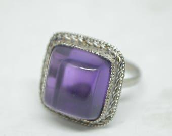 Amethyst  square filigree steel ring, Vintage ring with amethyst, Ring size 8, Clear purple amethyst stone ring, gemstone ring