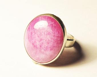 Pink tourmaline ring, Silver ring with Pink tourmaline, Love talisman ring, Pink gemstone ring, oval tourmaline statement ring