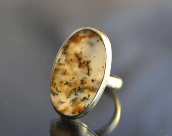 Dendritic quartz ring, gemstone ring, oval agate ring, Ring size 18,5 mm, dendritic agate ring picture stone