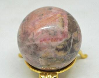 """Rhodonite Sphere Ball, 1,9"""", 210 g, Rhodonite Crystal Sphere, Pink Gemstone Ball, Rhodonite Russia"""