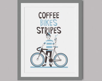 Coffee Bikes Stripes - Limited Edition hand printed screen print - A3 paper - Cycling art