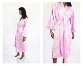 Lavender Kimono Robe Japanese Asian Brocade 60s Mid-Century Loungewear Bed Jacket 1960s Peignoir Dressing Gown Sleepwear Jacquard Satin