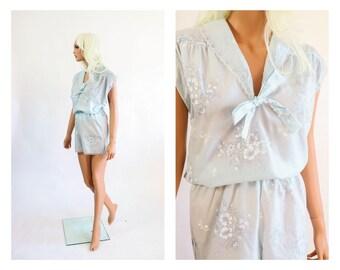 70s Summer Pajama Set Shirt Blouse Top Sleepwear Shorts + Camisole Lingerie  Sleep Cami Tap Pants Pjs Nightie 1970s Floral 80s Teddy 1980s XS 38b1f7778