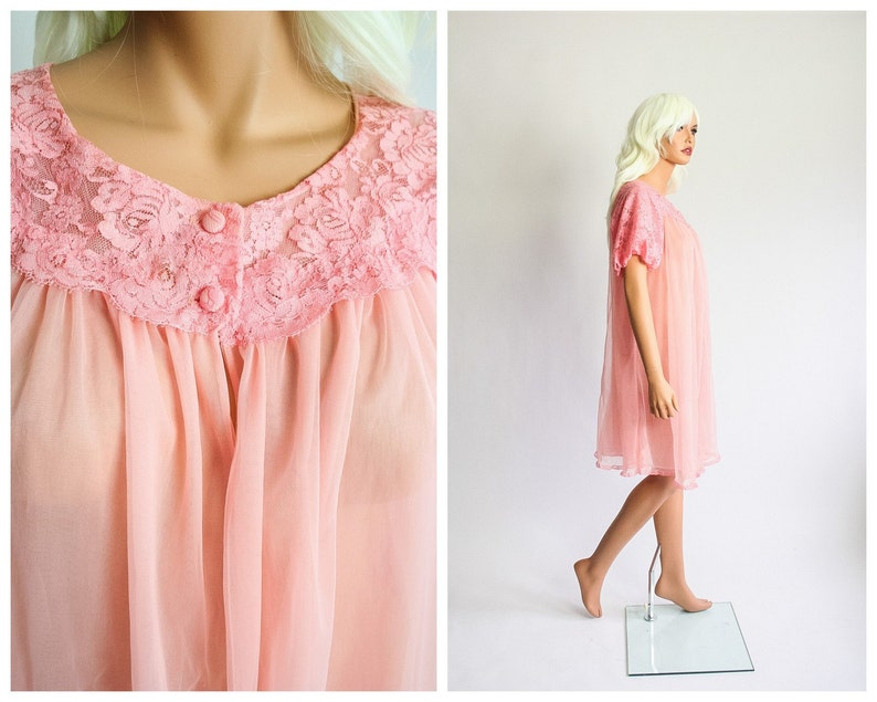 60s Chiffon Nightgown & Peignoir Set - Retromended