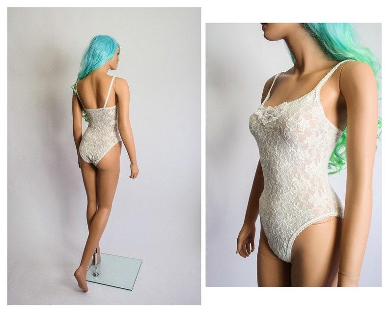 40e1a5d5edc0 High Cut Onesie Bodysuit Sheer Lace Lingerie Nightie Romper