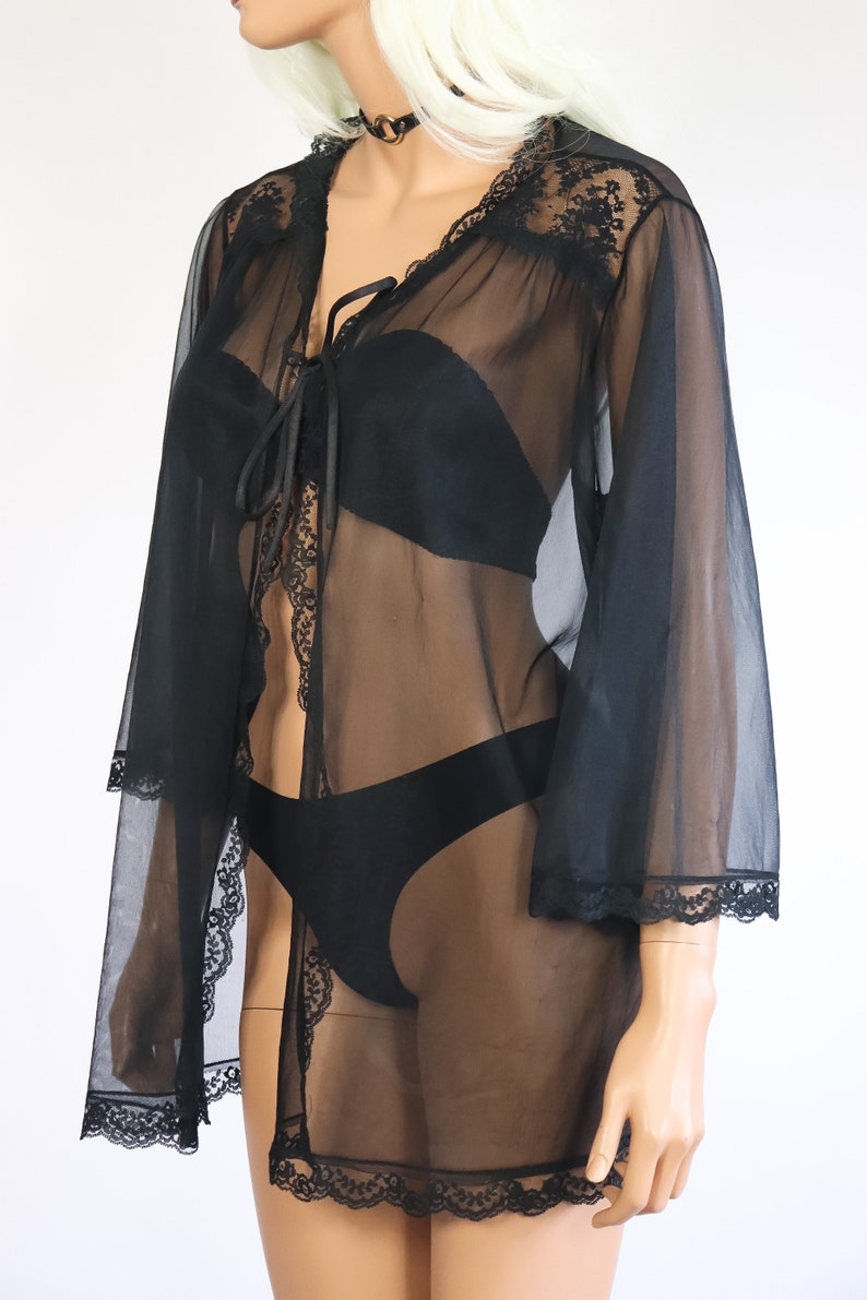 Black Sheer Chiffon Nightie Jacket Babydoll Negligee 70s Lingerie Boudoir 1970s Nightgown Lace Robe Shirt Top Goth Dolly Boho Pinup S M L