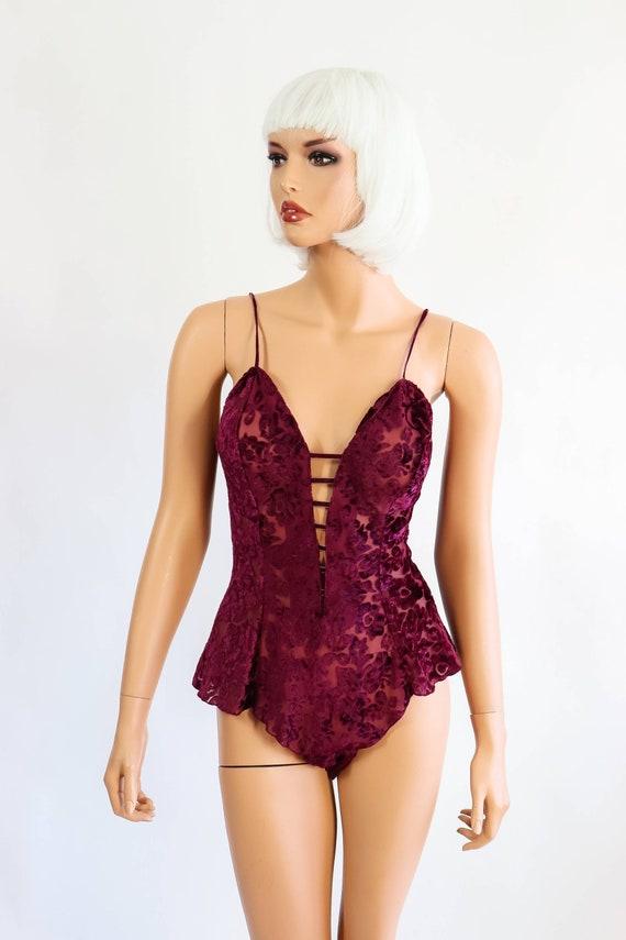 baf23ab5661 Victoria s Secret Velvet Burnout Onesie Bodysuit Lingerie
