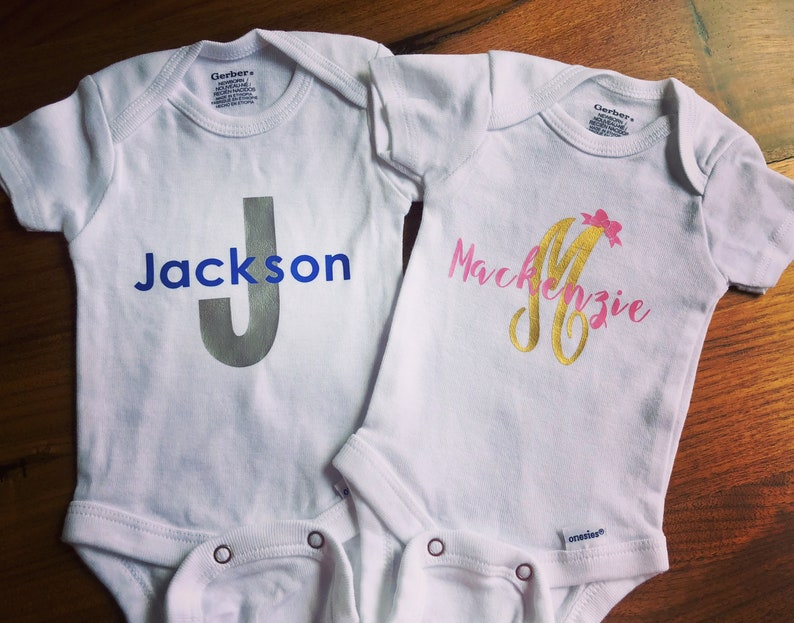 fa185d93f551b Monogram ONESIE® - Personalized Onesie - Custom Onesie - Coming Home Onesie  - Baby Gift - Baby Name - Baby Monogram- Unisex