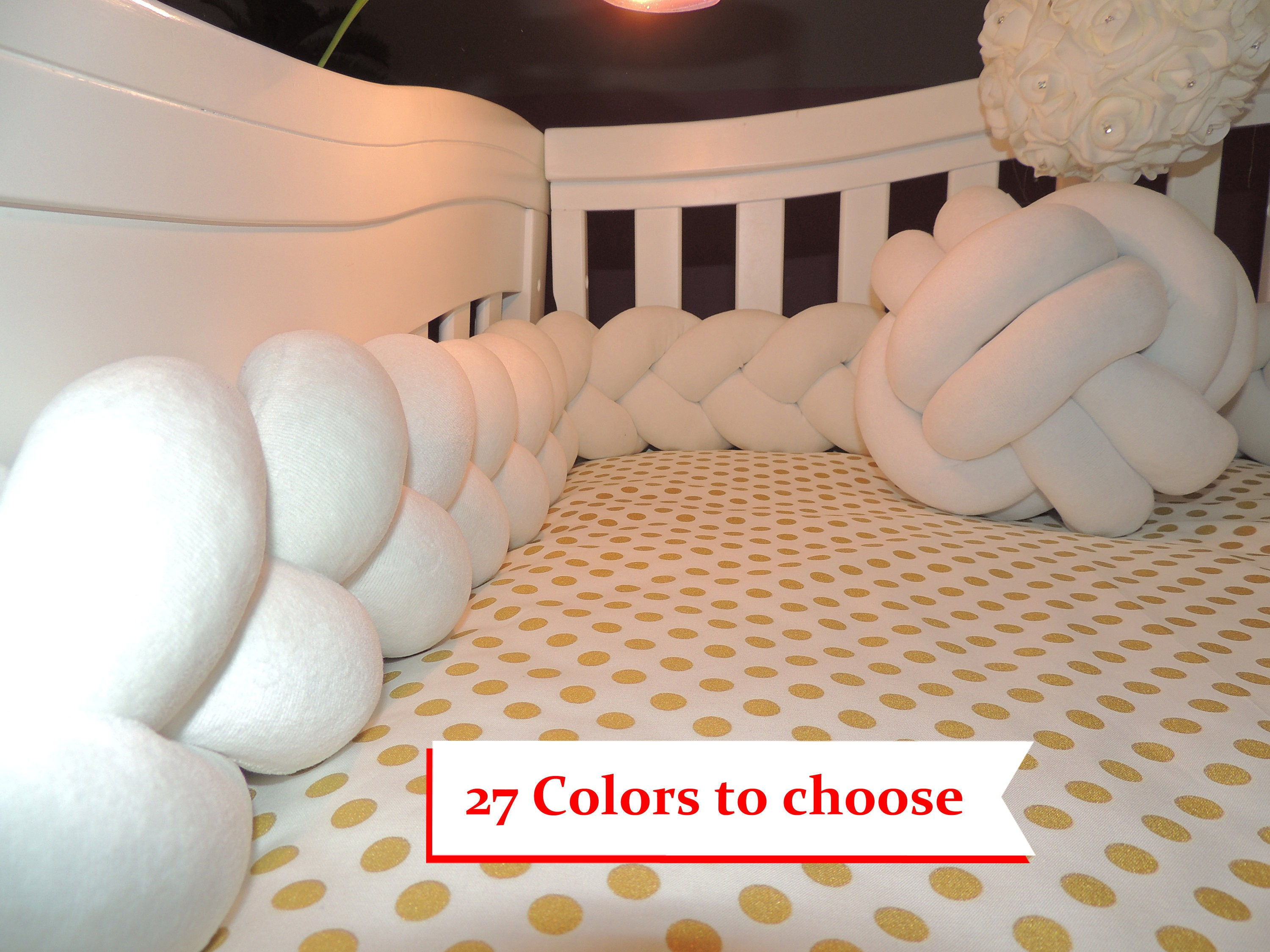 Braided Crib Bumpers Baby Bedding Cot Knot Pillow Knot Etsy