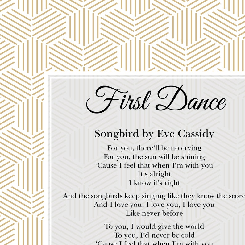FREE POSTAGE, Personalised First Dance Print, Custom First Dance Lyrics,  Wedding Print, Song Lyrics, Christmas Gift, Husband Gift, Wife Gift