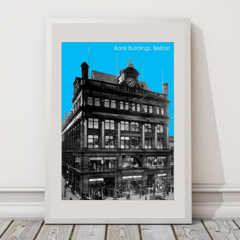 image about Free Printable Model Buildings known as Cost-free Delivery, Lender Constructions Belfast, Artwork Print, Irish Artwork Print, Town Poster, Landmark Print, Landmark Generate Poster Skyline Wall Artwork