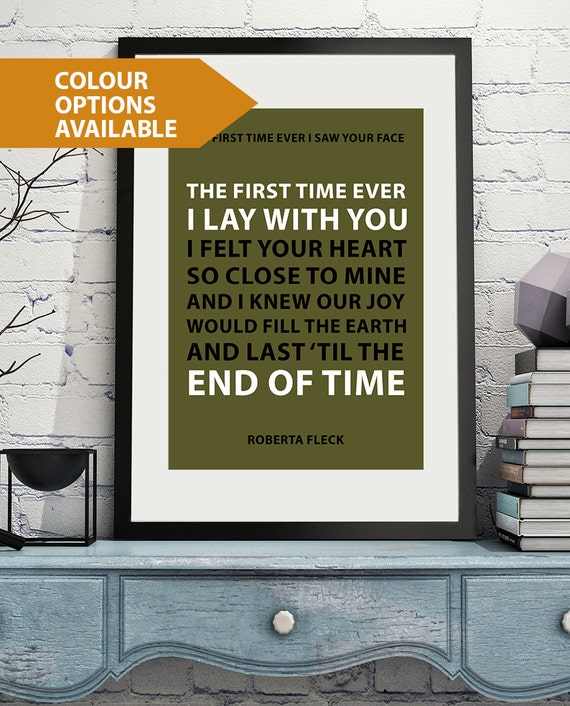The First Time Ever I Saw Your Face Heart Song Lyric Quote Print
