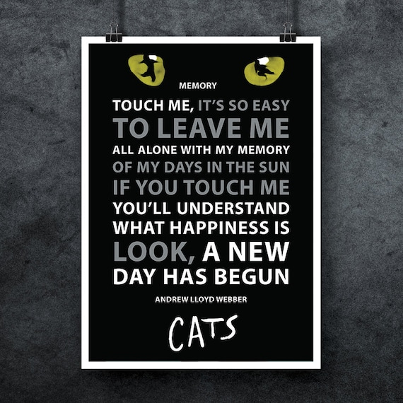Free Shipping Andrew Lloyd Webber Cats Musical Poster Song Etsy