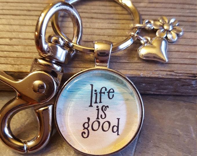 Life is Good Key Chain Happiness Keychain Beach Key Chain Life is Good Beach theme Keychain Gift Beach Gift