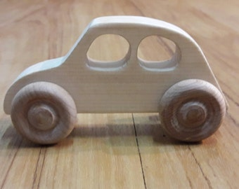 Wooden toy car, wood toy car, Handmade wood car, eco-friendly, Unfinished wood en car, Toddler toy, beetle, bug