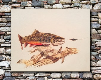 Brook Trout Painting | Watercolor Print | Wildlife Print | Fishing Print | Flyfishing Print | Wildlife Decor | Home Decor | 8x10 print