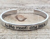 To the moon and back Bracelet Cuff - Thin - Hand Stamped Adjustable Bracelet - Custom Jewelry - Personalized Gifts - Gifts Under 25