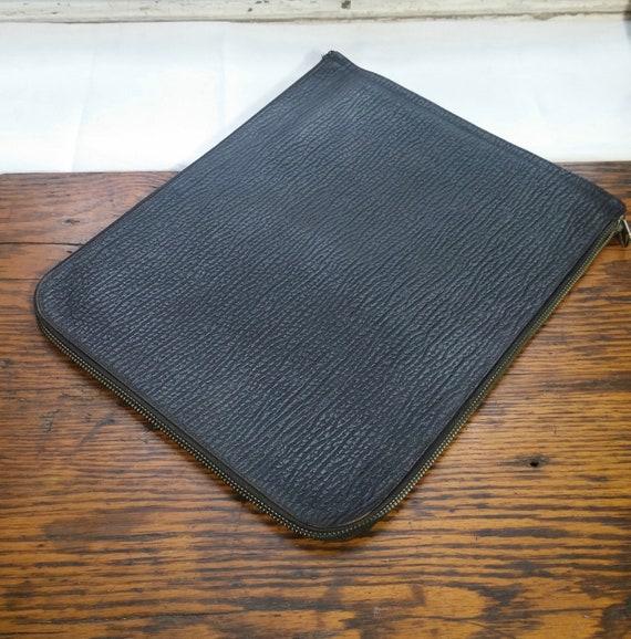 Vintage Leather Portfolio, Document Envelope, Pouc