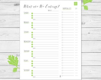 Weekly meal menu, what are we eating, printable, green.