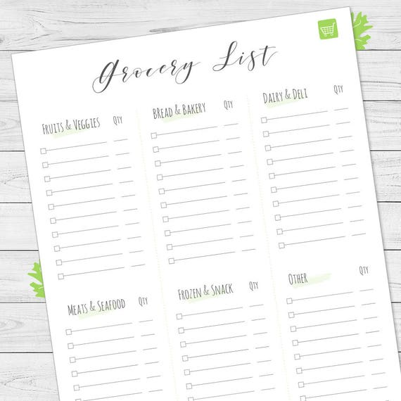 Grocery List Main Groups At Grocery Store Shopping List Etsy