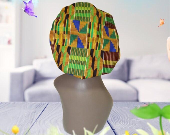 Blues African Print Satin Lined Bonnet
