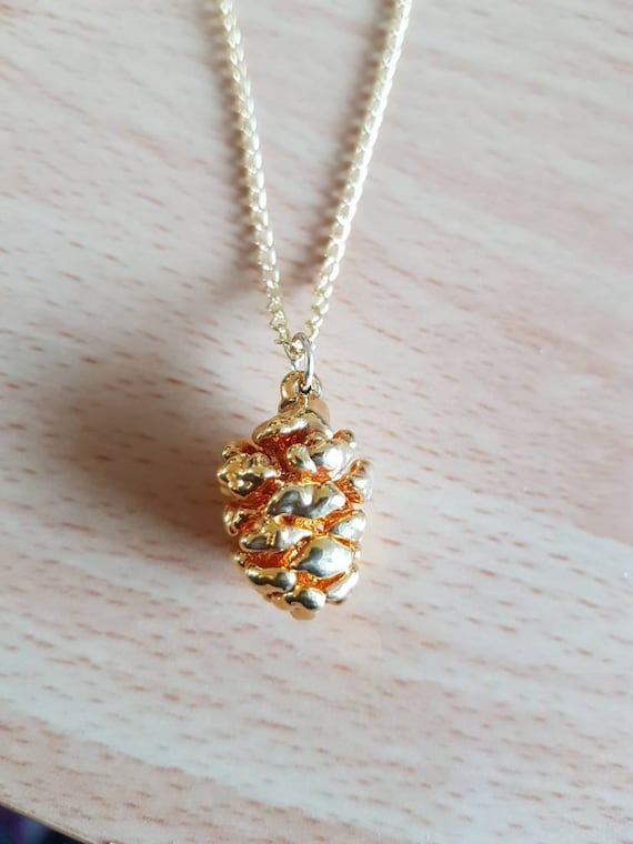 Gold-Encased Pinecone Necklace