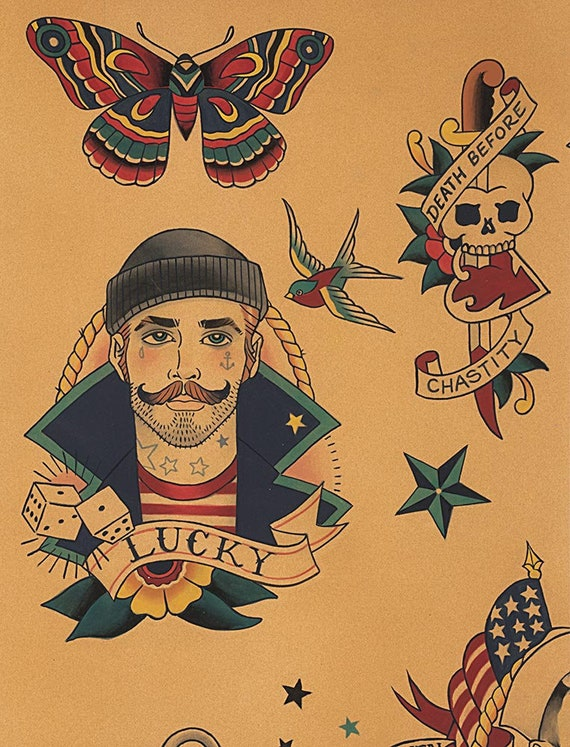 Tela De Tatuajes Marineros Anchors Away Dark Tea Tatuajes Etsy