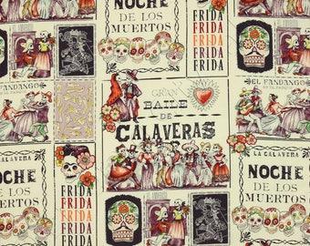 Dance of the Skulls eggplant. Patchwork fabric. Alexander Henry's fabric. Day of the dead. Frida Catrina Fabric. Frida. Dress Fabric