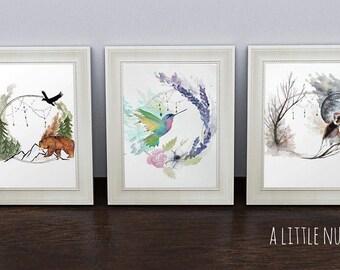 Wall Art Home Decor Painting Watercolor Poster Watercolour Animals Gift Boho Illustration Print