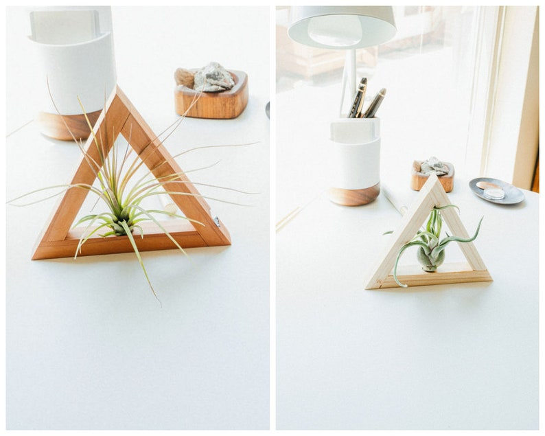 Super Desk Decor Handmade Redwood Triangle Air Plant Holders Desk Accessories Cute Desk Decor Rustic Desk Decor Desk Decorations Cute Desk Download Free Architecture Designs Scobabritishbridgeorg