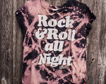 Rock and Roll Kids Shirt - Distressed shirt - Custom band shirt - Bleached shirt - Kids Clothing - Shredded Dreams - Youth Size 10