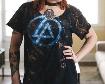 READ DESCRIPTION FIRST - Linkin Park - Distressed shirt - Custom band shirt - Bleached band tee - Ripped - Medium